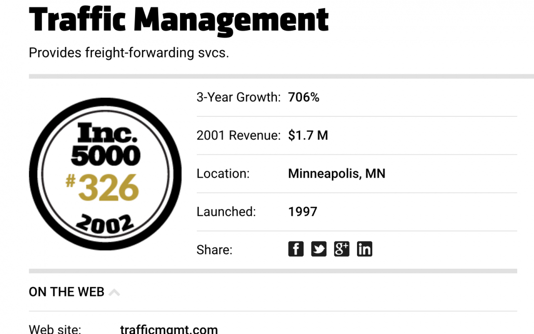 Traffic Management on Forbes Fastest Growing Companies List 2002